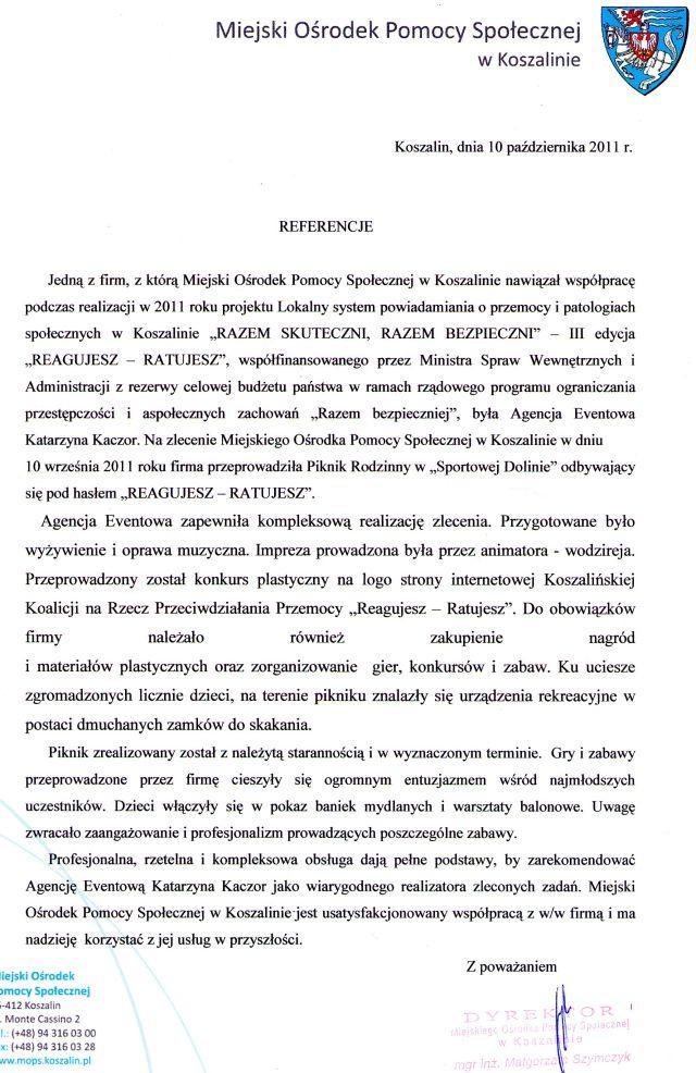 Dyrektor Miejskiego Ośrodka Pomocy Społecznej w Koszalinie mgr Inż. Małgorzata Szymczyk
