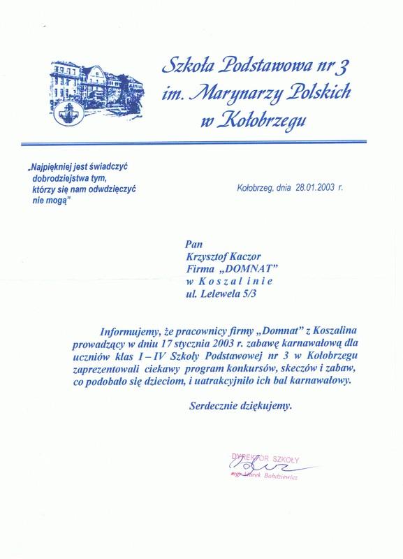 Szkoła Podstawowa nr 3 w Kołobrzegu Dyrektor Szkoły mgr Marek Bohdziewicz